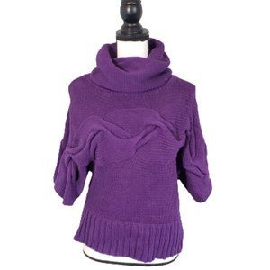 Kensie Pretty Purple Cable Knit Sweater Size M